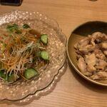 呑喰処 北ひの - サラダと若鶏にんにく炒め