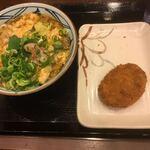 丸亀製麺 - 海鮮玉子あんかけうどん並690円、コロッケ120円