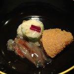 12209654 - ①メジナの真砂和え・蟹と山芋のレタス巻き・ホタルイカの沖漬け
