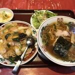 五修堂 - Cランチ(醤油ラーメン&五目あんかけご飯)