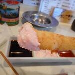 横田酒場 - 海老は明太マヨネーズに付けて食べました