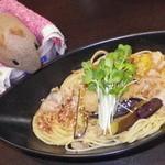 12218159 - 甘味ランチセット、茄子と豚バラとトマトのおろしポン酢パスタ:2012/03