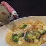 12218163 - 甘味ランチセット、小海老とブロッコリーとモッツァレラチーズのトマトクリームパスタ :2012/03