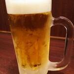 オアシスサウナ アスティル - 生ビール。ジョッキが冷えてて美味しい。