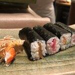 鮨ふく - かんぴょう、本鮪すき身、赤貝ひもキュウ、寒ぶり