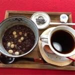 寺Cafe 蓮心庵 - 蓮の実ぜんざいとコーヒーのセット