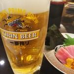 活魚廻転寿し 水天 - ビールとウニトロ