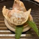 京懐石 吉泉 - ずわい蟹の蒸し寿司。ずわい蟹も身がたっぷりで味が濃い。