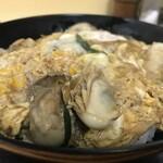 豊福 - フライしてない牡蠣が載った、たまごとじ丼です(2019.12.24)