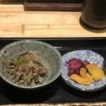 魚菜料理 二代目 みつい - 小鉢3種と味噌汁