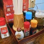 なかつぼ - 卓上に常備された調味料類