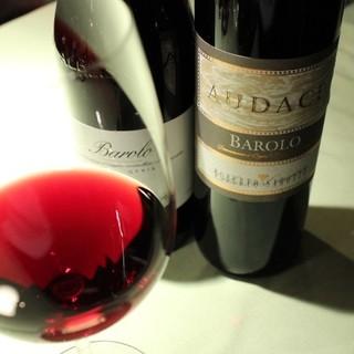 種類豊富なワインやイタリア産ビールとのペアリングを