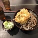 めとろ庵 - 盛り蕎麦 300円 と かき揚げトッピング 130円