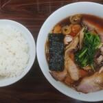 中華料理 天王 - 生姜醤油チャーシュー × ライス(並)