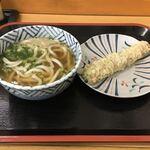 いしづ - 料理写真:かけうどん、ちくわ天(磯辺揚げでした)