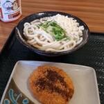 はなまるうどん - 料理写真:かけうどん・北海道コロッケ