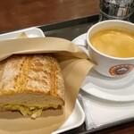 サンマルクカフェ - 「熱々ホットサンドモーニング スモークチキンとタマゴサラダ」とブレンドコーヒーSホット