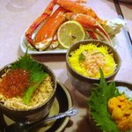 浅草橋ビアホール - 三色丼と二大ガニ御膳