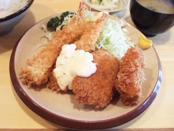 きっちん 浜家 - ミックスフライ定食(850円)