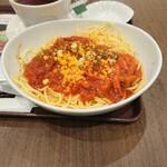 122512042 - ベーコンとナスのトマトソーススパゲッティ