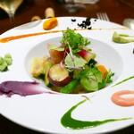 rumierune - 30種の季節の温野菜 (コース/1名分)             パレットのような色鮮やかさに心を奪われる一品