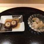 鮨 坂本 - ⒈白バイ貝 ⒉蛸