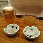 阿波海鮮 魚家  - お通しとビールと梅酒
