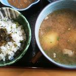 阿蘇山の幸 よろこび - 料理写真:よろこび膳のメインのだご汁と高菜飯