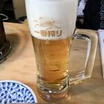 炭火焼肉ホルモン 三四郎 - 千べろセットの「生ビール」