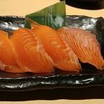 越後酒房 八海山 - 八海山サーモンの握り寿司