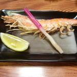 割烹 寿司魚かね - 海老の串焼き