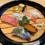 能登前寿司 もりもり寿し - おまかせにぎり (七貫) ¥1,250- (税抜)
