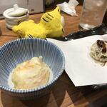天ぷらとワイン 大塩 - 半熟玉子天と栗天 各190円(税別)