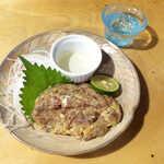 まさむね - 鰺のなめろう(¥858)。すだち醤油と三杯酢、どちらを付けるか… 二通りの味を楽しめる