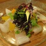 122720997 - ヒラメのカルパッチョ~春菊と温州みかんのサラダ仕立て