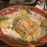 122725033 - トリュフ風味のスパゲティカルボナーラ 西三河の赤鶏卵「たける」を絡めて