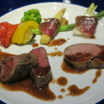 藤沢 日本酒×肉バル 来酒 - 料理写真:ヴィアンド 2種のロースト食べ比べ、仔牛ヒレ肉と蝦夷鹿ヒレ