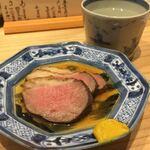 お料理 山乃口 - 鴨ロース 柔らかくて鴨の味も良くて、何より味付けの塩分の塩梅が良かったなぁ