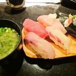 回転寿司 たいせい - 5貫盛り 525円 ミニ味噌汁がつきます。