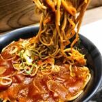名代 富士そば - カレー蕎麦麺リフト かなり干からびてしまった