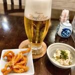 金澤亭 - 生ビールとお通し