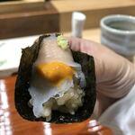 鮨旬美西川 - 雲丹とイカの巻物