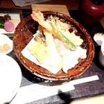 京の米料亭 八代目儀兵衛 - 京のお野菜と大海老の天麩羅銀シャリ御膳♪