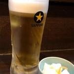和や - 生ビール中550円&付き出し300円