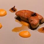 レストラン ル・クール神戸 - フォアグラのソテーとバターナッツ カカオ風味のハチミツ