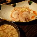 12284518 - 鶏醤油つけ麺大盛り、半熟煮卵トッピング