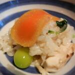 122859138 - 松茸ご飯にからすみオン