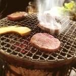 炭火焼き肉 一億兆 - 特上タン塩 。分厚い!柔らかい。