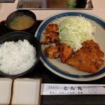 とんかつ とん丸 - 料理写真:ロースハーフ+からあげ定食(780円)