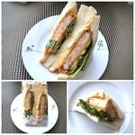 テイクアサンドイッチ ロカボリズム - 「海老とアボカド エッグサンド(450円:税別)」・・中央に大きめの海老カツが入り、オーロラソースの味わいも好み。「食パン」が美味しいのもいいですね。